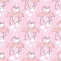 Seamless Pattern With Heart And Exotic Bird. Stock Images - 110437674