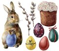 Watercolor Easter Symbols Set With Eggs And Bunny. Hand Painted Color Eggs, Pussy Willow Branch, Easter Cake, Rabbit Stock Images - 110483184
