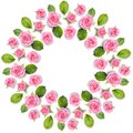 Rond Frame Wreath Made Of Pink Roses Isolated On White Backgroun Royalty Free Stock Photos - 110570168
