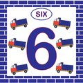 Number 6 Six, Card. Learning Numbers With Transport, Dump Truck. Educational Game For Children Stock Photography - 110661232
