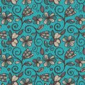 Floral Seamless Pattern. Colorful Ethnic Mandalas In Brown, Beige And Blue Colors. Arabesque Vector Ornament Royalty Free Stock Photos - 110676008