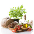 Bread, Herbs, Olive Oil And Vegetables Stock Photography - 11074882