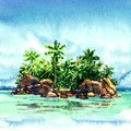 Amazing Tropical Island With Palm Trees, Rocks From The Sea, Maldivian Atoll In Ocean, Panorama, Watercolor Illustration Royalty Free Stock Image - 110712236