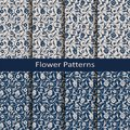 Set Of Eight Seamless Vector Flower Vintage Patterns. Design For Packaging, Covers, Textile Stock Photos - 110751503
