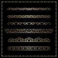 Gold Border Vignettes On Black Royalty Free Stock Image - 110753126