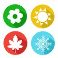 Set Of Seasons Icons. Winter, Spring, Summer, Autumn. Royalty Free Stock Photo - 110807455