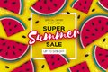 Watermelon Super Summer Sale Banner In Paper Cut Style. Origami Juicy Ripe Watermelon Slices. Healthy Food On Yellow Stock Photos - 110908033