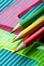 Color Pencils On A Rulers Background Stock Photography - 1115542