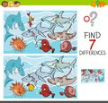 Find Differences With Fish Sea Life Characters Stock Photography - 111016672