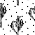 Cactus Seamless  Pattern With Saguaro. Cacti Fabric Print Design. Succulent Textile Surface. Vector Illustration. Royalty Free Stock Photo - 111043535
