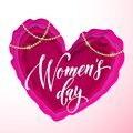 Women`s Day Text On Pink Paper Cut Heart Background. Vector 8 March Greeting Card For Mother`s Day. Papercut Heart Royalty Free Stock Photo - 111047055