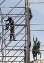 Workers On Scaffold Near King James 1st Of Spain In Mallorca Stock Photo - 111056540