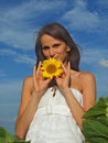 Young Women With Sunflowers Royalty Free Stock Images - 11114729