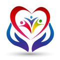 Family Union,love And Care In A Red Heart With Hand And Heart Shape Logo Royalty Free Stock Photo - 111146015