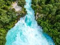 Stunning Aerial Wide Angle Drone View Of Huka Falls Waterfall In Wairakei Near Lake Taupo In New Zealand Stock Images - 111163314