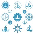 Vintage Retro Anchor Vector Icons And Label Sign Of Sea Marine Ocean Graphic Element Nautical. Marine Anchor Emblem Stock Photo - 111210890