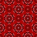 Floral Seamless Pattern. Black And White Design On Red Background Stock Image - 111403131