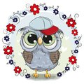 Greeting Card Cute Owl With Flowers Royalty Free Stock Photos - 111491608