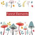 Set Of Vector Forest Elements. Mushrooms, Berries, Leaves And He Royalty Free Stock Photos - 111493138