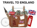 Travel To England Suitcase Bag With England Landmark Stock Photography - 111536292