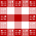 Red Tablecloth Texture With Cutlery Pattern Royalty Free Stock Photography - 11161827