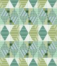 Ethnic Seamless Patchwork Pattern In Green Tones. Geometric Tribal Ornament Royalty Free Stock Photography - 111668407