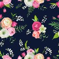 Floral Seamless Pattern With Pink Flowers And Lily. Botanical Background For Fabric Textile, Wallpaper, Wrapping Paper Royalty Free Stock Image - 111803956