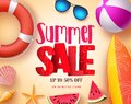 Summer Sale Vector Banner Design With Red 3D Sale Text And Colorful Beach Elements Stock Photo - 111890370