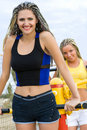 Young Models Working Out On Fitness Playground Royalty Free Stock Images - 11199169