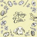 Easter Vintage Vector Frame. Hand Drawn Card With Bunny, Happy Easter Calligraphy. Stock Photography - 111950912