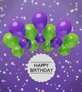 Happy Birthday Greetings With Violet And Green Balloons 3d Rendering Royalty Free Stock Photo - 112005865