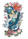 Japanese Old Dragon Tattoo For Arm.Hand Drawn Dragon With Peony Flower,lotus,rose And Chrysanthemum Flower And Water Splash Stock Photography - 112017582