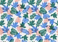 Seamless Tropical Pattern. Tropical Plants And Palm Leaves In Coral, Teal And Blue Colors. Floral Background. Fashion Stock Photo - 112145030