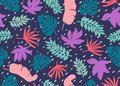 Seamless Tropical Pattern. Tropical Plants And Palm Leaves In Coral, Teal And Blue Colors. Floral Background. Fashion Royalty Free Stock Image - 112148516