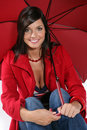 Woman With Red Umbrella Royalty Free Stock Photography - 11220217