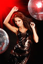 Sexy Girl Dancing Over Mirror Ball Stock Images - 11228864