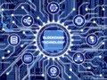 Circular Circuit Board Surrounded By Technical And Financial Sym Stock Photo - 112210050