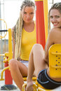 Young Models Working Out On Fitness Playground Stock Photos - 11239903