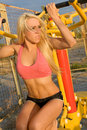 Young Model Working Out On Fitness Playground Stock Images - 11239934