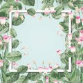 Beautiful Botanical Frame With Pink Flowers And Leaves At Pastel Blue Background. Stock Photography - 112326612