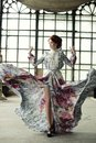 Elegance Woman With Flying Dress In Palace Room Royalty Free Stock Images - 112380049