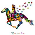 Abstract Woman Riding A Horse And Butterflies Flying Stock Images - 112410564