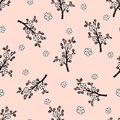 Seamless Pattern With A Gentle Japanese Oriental Cherry. Royalty Free Stock Photography - 112460837
