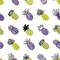 Seamless Pineapple Pattern. Handdrawn Pinapple With Different Textures In Pastel Colors. Exotic Fruits Background For Royalty Free Stock Images - 112471259
