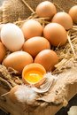 Bunch Of Fresh Brown Eggs  In A Wooden Crate. Stock Photos - 112491683
