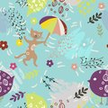 Seamless Pattern With Cute Kitty, Birds, Umbrella And Flowers On Blue Background. Print For Fabric, Wallpaper, Greeting Stock Photo - 112519310