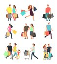 Happy Shopping People. Man, Woman And Shoppers With Gift Boxes And Shopping Bags. Vector Cartoon Characters Set Royalty Free Stock Images - 112519329