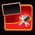 Screwdriver And Wrench On Red Halftone Banner Stock Images - 11273484