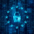 General Data Protection Regulation - GDPR.  Padlock Symbol, Data Secure. Stars On Blue Matrix Background. Vector Royalty Free Stock Images - 112816479