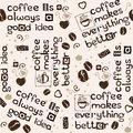 Coffee Beans, Hearts And Lettering Seamless Pattern Stock Photography - 112894522
